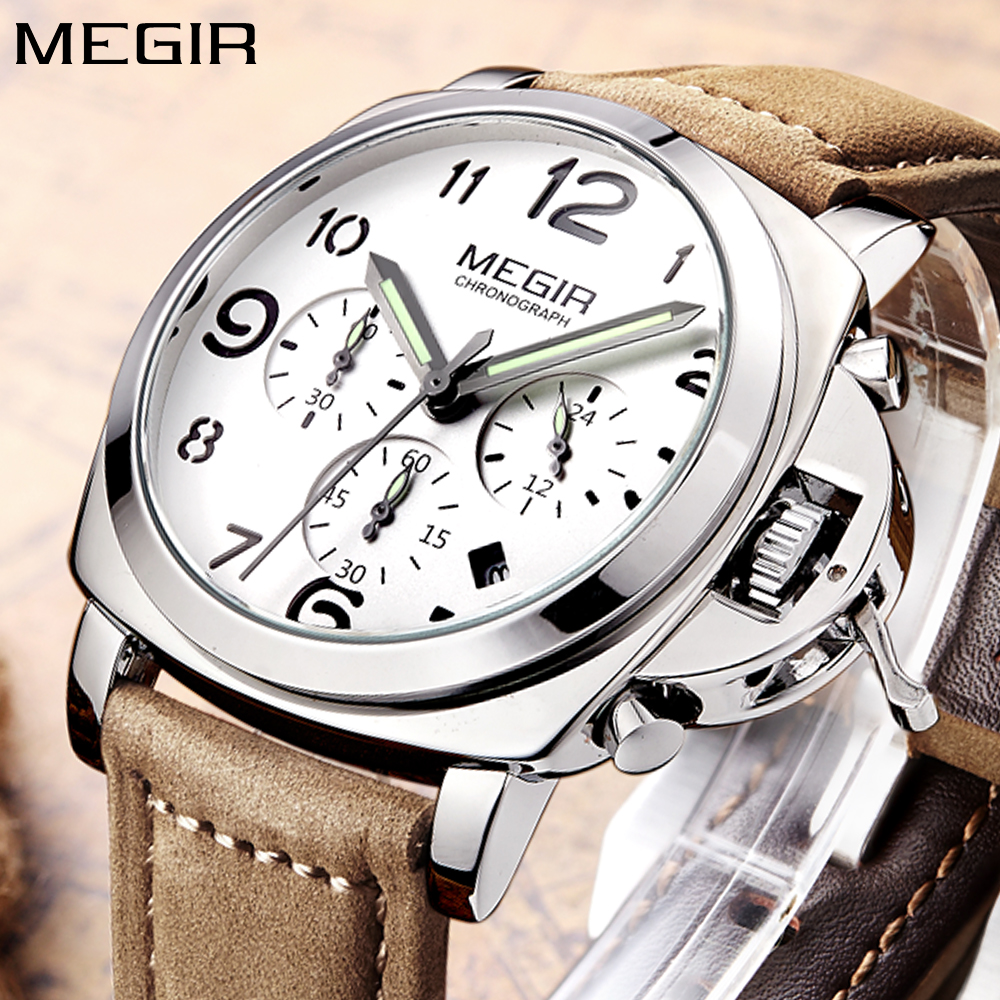 MEGIR Top Luxury Brand Quartz Watch Men Analog Chronograph Clock Mens Retro Leather Strap Fashion Big Sport Wrist Watch Boys купить недорого в Москве
