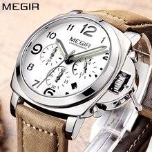 MEGIR montre à Quartz analogique pour hommes, marque de luxe, chronographe analogique, bracelet en cuir, grand format à la mode