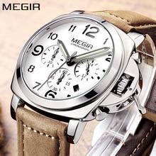 יוקרה למעלה מותג קוורץ אנלוגי גברים שעון הכרונוגרף שעון MEGIR בני Mens רטרו גדולים אופנה רצועת עור ספורט שעון יד