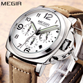 Reloj de cuarzo de marca de lujo MEGIR, reloj cronógrafo analógico para hombre, correa de cuero Retro para hombre, reloj de pulsera deportivo grande de moda para niños