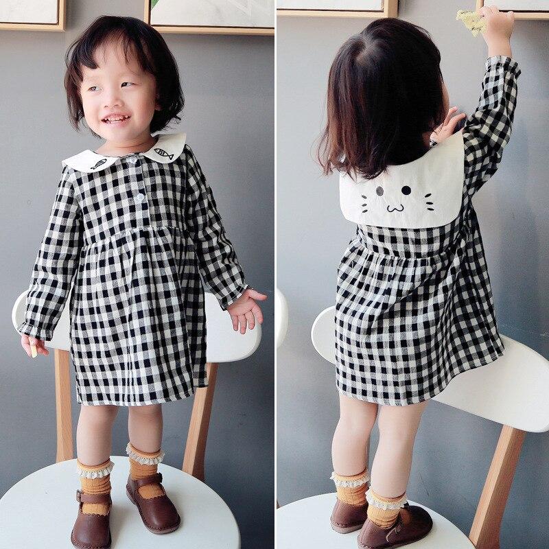 Plaid Baby Girl Dress 2018 Autumn Cotton Kids Clothes Long Sleeve Cute Doll Collar Toddler Girls Princess Dresses