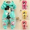 2015 estilo verão minnie mickey bebê meninas Esporte terno de manga longa crianças hoodies + calças conjuntos de roupas roupa dos miúdos roupas conjunto