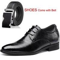 Новые телячьей кожи тисненой Кожаные модельные туфли официальная Высота обувь со скрытым каблуком для Для мужчин Свадебная вечеринка