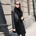 Fur one piece leather jacket women real fur coat genuine sheepskin leather trench female thick warm winter New Phoenix