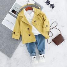 Children Trench Clothing Sets Outerwear & Coats Toddler Boy Girl Autumn Fashion 3PCS Coat + T Shirt + Pants 1 2 3 4 Years