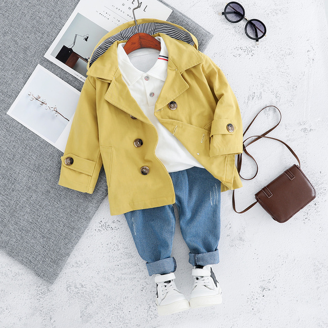 Children Trench Clothing Sets Outerwear & Coats Toddler Boy Girl Autumn Fashion 3PCS Coat + T Shirt + Pants 1 2 3 4 Years