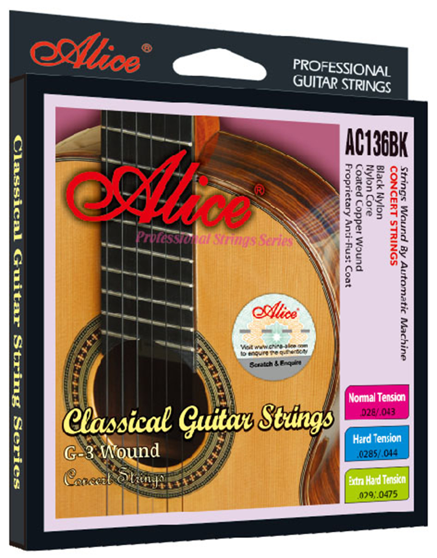 Black Nylon Classical Guitar Strings 0285/044 inch Black Nylon Coated Copper Wound Alice AC136BK