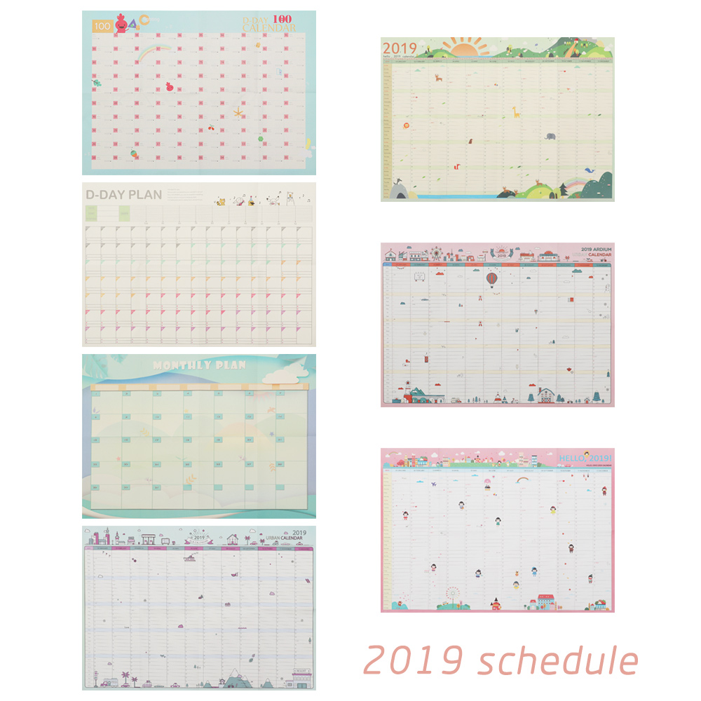2019 Year 365 Days Wall Calendar Paper Yearly Calendar Planner Day Schedule Agenda New Year Planner