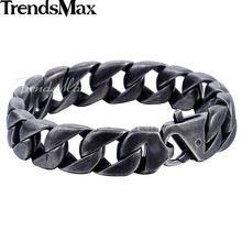Trendsmax настроить любой Длина 15 мм широкий золотой цвет Curb Link 316L Нержавеющая сталь браслет мужские цепи Модные украшения HB292
