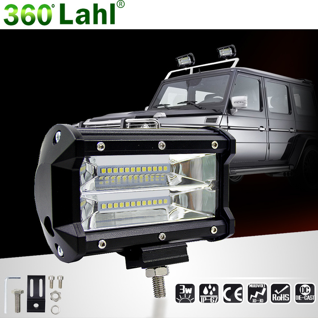 2017 New 5 inch 72W Car Led Barra Lampe de travail Offroad Motorcycle Foglights Spotlight For Boats ATV UTV SUV Jeep Truck