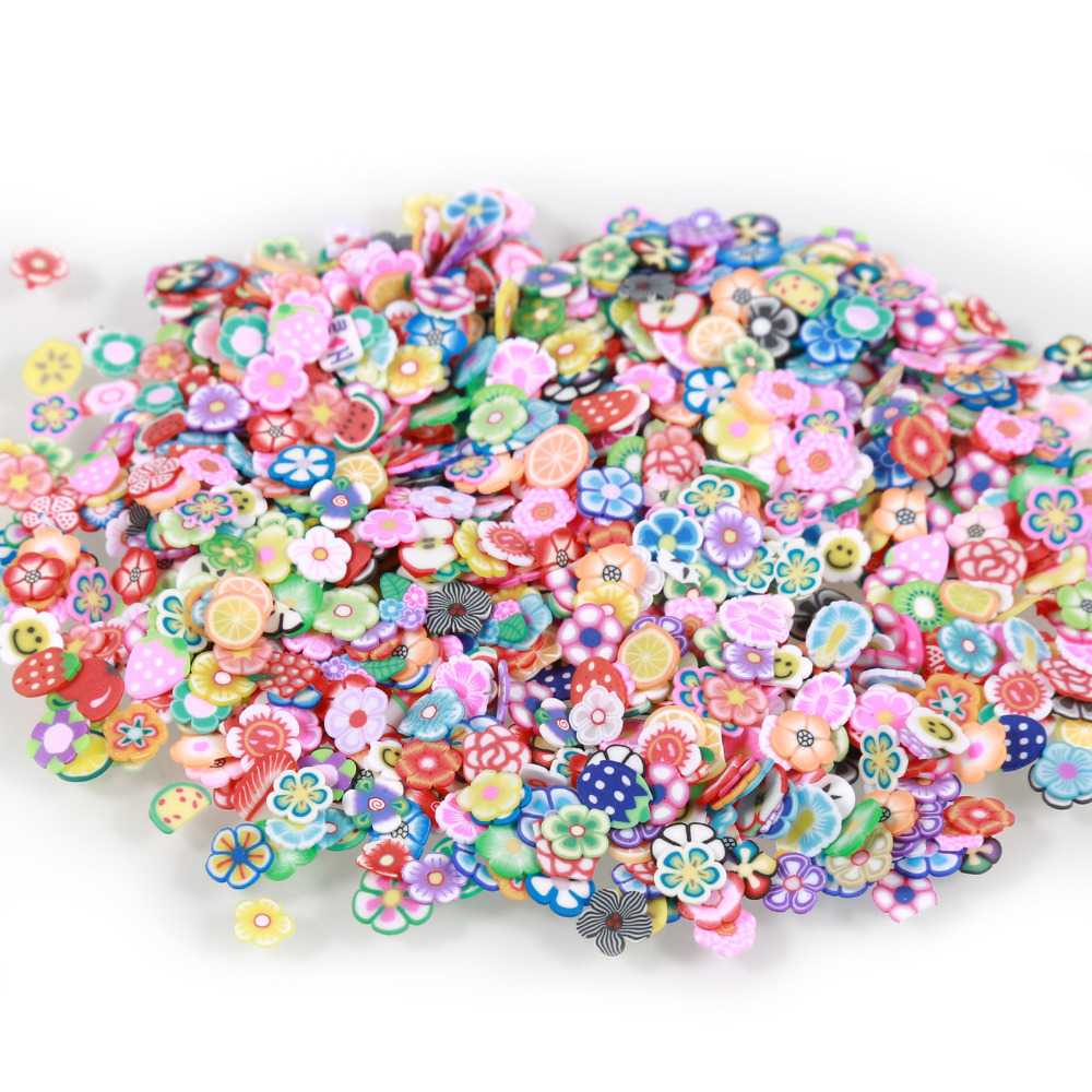 1000pcs/bag Fimo Canes 3D Fimo Stickers for Nail Art Decorations Polymer Fruits Shapes 5mm Slices Fimo Clay Sticker Nail Decor 1000pcs pack 3d fimo nail art decorations fimo canes polymer clay canes nail stickers diy 3mm fruit feather slices design zj1202