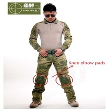 2017 Army Camouflage Military Combat Shirt Uniform Tactical Suit Airsoft Sniper Paintball Hunting Clothing With Knee Elbow Pads