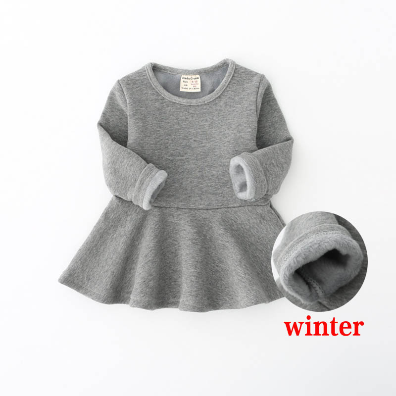 Girls Dress With Velvet 2018 Winter Casual Costume For Children Baby Girls 0-3Years Toddler Girls Clothing Princess Dress 2016 winter new soft bottom solid color baby shoes for little boys and girls plus velvet warm baby toddler shoes free shipping