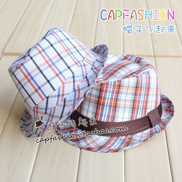 Child small fedoras stripe male hat plaid jazz hat child hat