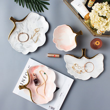 Glod Marble Ceramic Dinner Plate Dish Soup Rice Bowl Soup Salad Plate Jewelry Dish Storage Tray Decorative Tableware