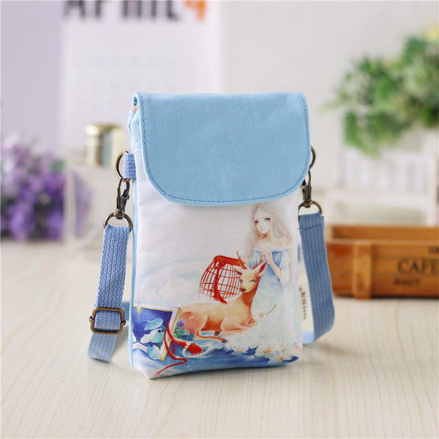 Cartoon Printing Women Bag Female Canvas Mini Crossbody Shoulder Bags Kids S Messenger Telephone Purse