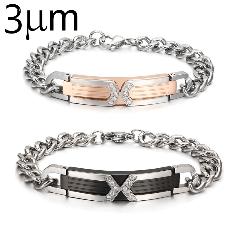 3umeter Bracelet For Couples X Black Gold Chain Stainless Steel Wedding Jewelry Custom Name