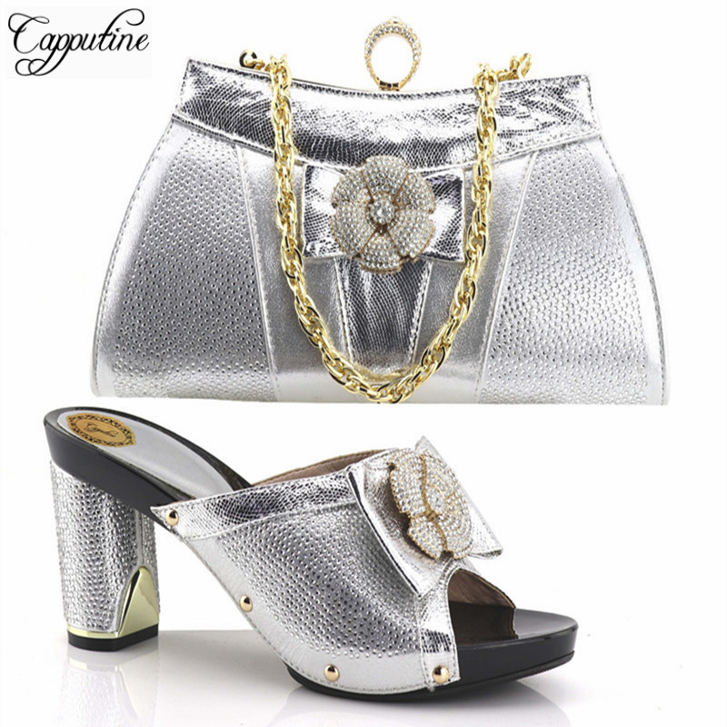 Capputine 2018 Italian Hot Sale Woman Pumps Shoes And Bags Set African Style Rhinestone Hiht Heels Shoes And Bag Set For Party italian visual phrase book