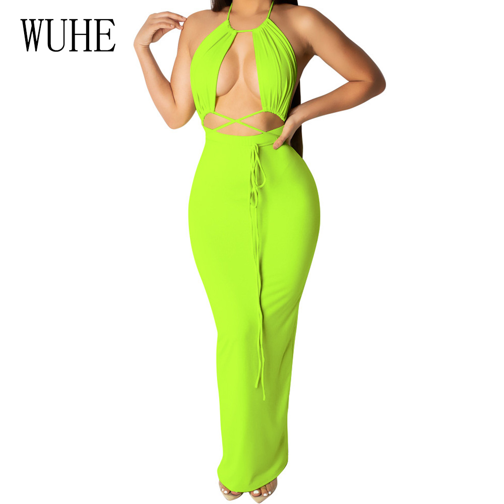 WUHE Women Sexy Hollow Out Open Back Halter Slim Maxi Dress Fashion Sleeveless Off Shoulder Bodycon Summer Vacation Party Dress image