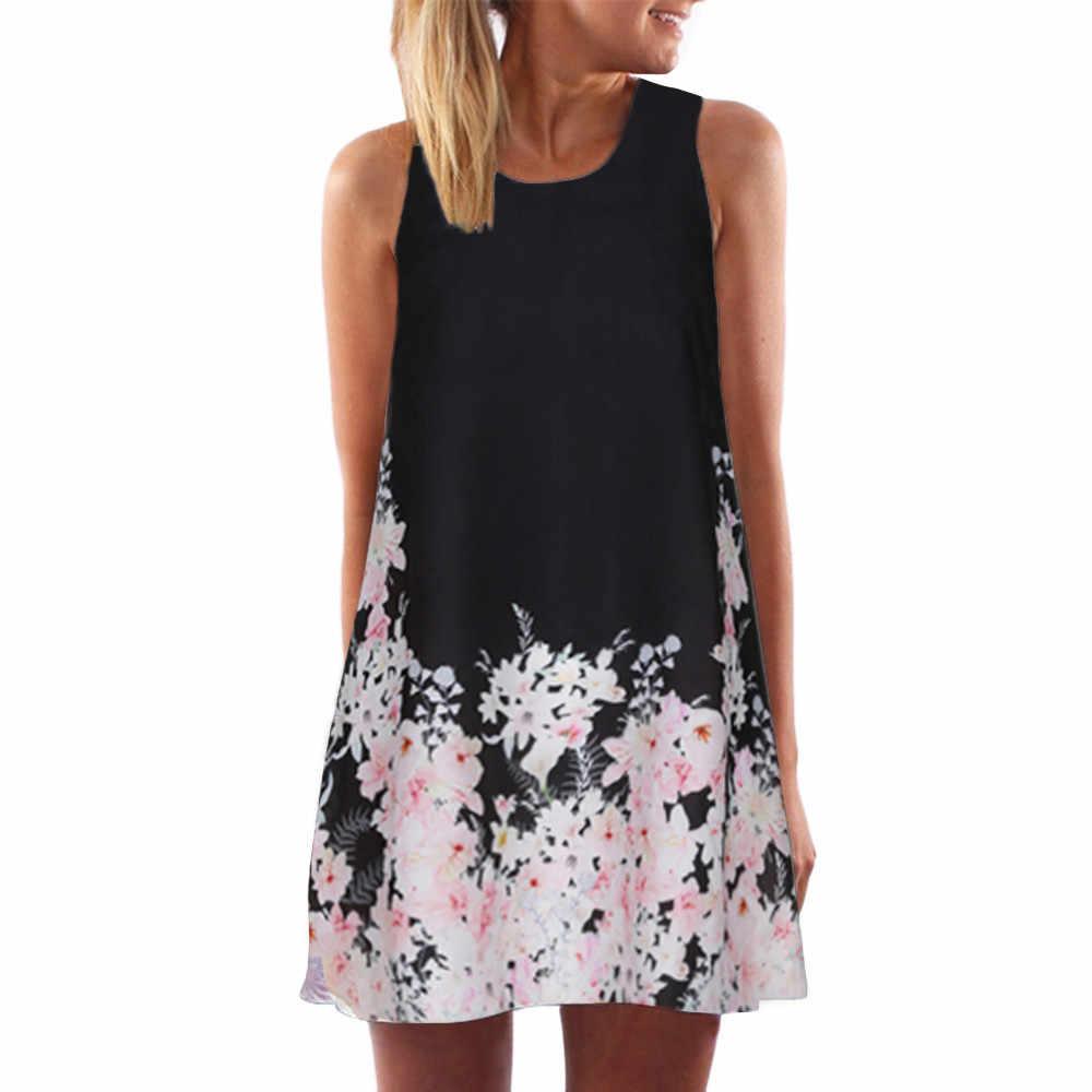 25770629abaa3 2018 Summer Dress Women Floral Print Chiffon Dress Sleeveless Boho Style  Short Beach Dress Sundress Casual Shift Dresses Vestido