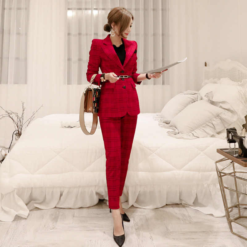 Pant Suits 2019 Autumn New Office Lady Formal Business 2 Piece Set For Women Plaid Single Breasted Blazers Jacket + Trouser Suit