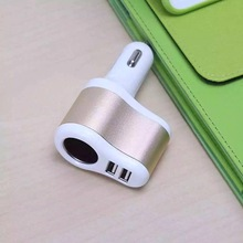 10pcs 3 in 1 Dual usb Ports+Cigarette Lighter Car Charger For Mobile Phones MP4 MP3 PC Cameras Bluetooth Speaker 5V 3.1A CE
