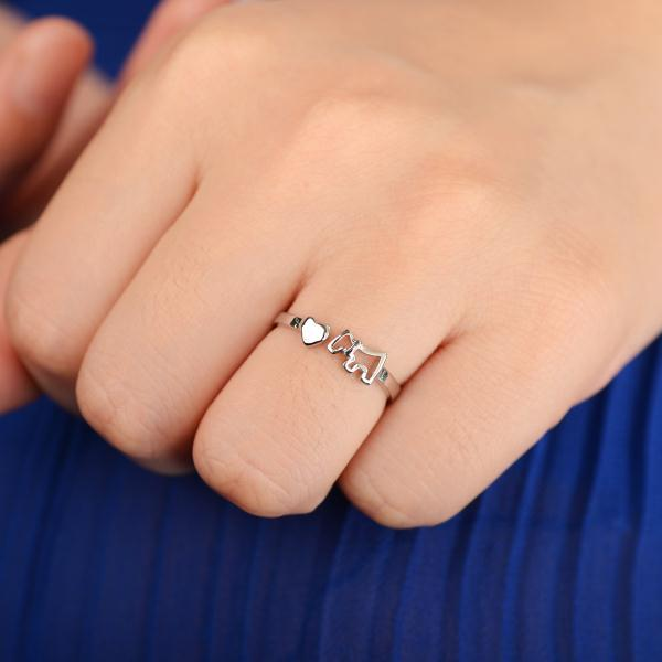 73a01bf0d5 YANTU Simple Stylish Silver Tone Finger Opening Adjustable Dog Women Rings  Lady Heart Ring Fashion Jewelry For Sale[JR14445/YT]
