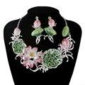 Новый Великолепный Кристалл комплекты ювелирных изделий Люкс свадебное ожерелье серьги Женщины Цветочный стиль Для невесты Ювелирные Изделия Аксессуары