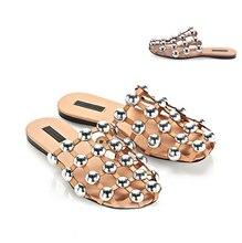2016 Fashion Week Celebrity rivet slippers women hollow flat sandals female fashion balck/apricot outdoor slipper summer shoes
