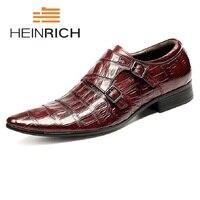 Хайнрих итальянская мужская обувь из натуральной кожи с двойным ремешком черные роскошные свадебные деловые мужские модельные туфли Zapatos м