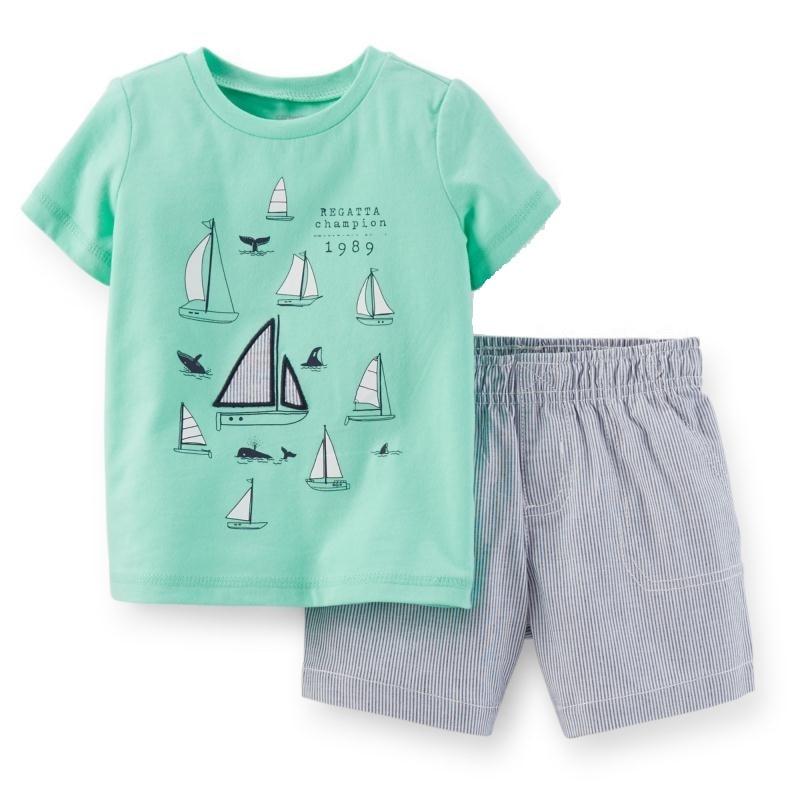 >Regatta <font><b>Champion</b></font> Baby Boy Clothes Suit Summer T-Shirts Shorts Pants 2-Pieces Sets Sailboat <font><b>Outfits</b></font> Cotton Sets Tops Jumpsuits