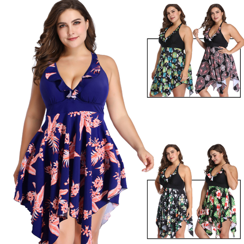 6XL Plus Size One Piece Swimsuit Women Swimwear Push Up Padded Skirt Dress Bathing Suit Large Size Swimsuit Summer Beach Suit