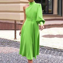 Vintage Sexy Summer Lantern Lantern Sleeve Long Dress Women 2019 Green One Shoulder Plus Size 4XL Female Dinner Party Midi Dress plus flower applique lantern sleeve dress