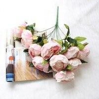 1 개 10 머리 모란 큰 꽃다발 무료 배송 실크 인공 꽃 높은 시뮬레이션 꽃 웨딩 홈 파티 장식