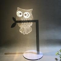 Acrylic 3D LED Animal Butterfly OWL Night Light Warm Lighting USB Table Reading Lamp Bedroom Home Decor Birthday Gift