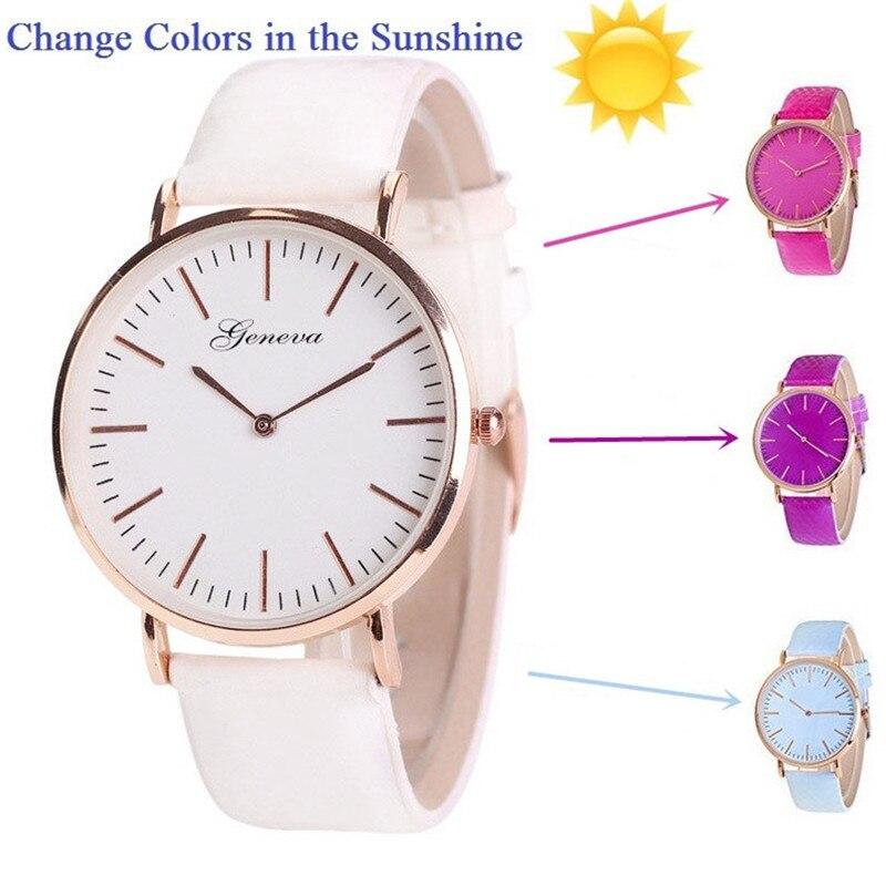 New Fashion Temperature Change Color Women Watch Sun UV Color Change Men Women Quartz Wristwatches Relogio Feminino Montre Femme