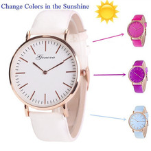 New Fashion Temperature Change Color Women Watch Sun UV Colo