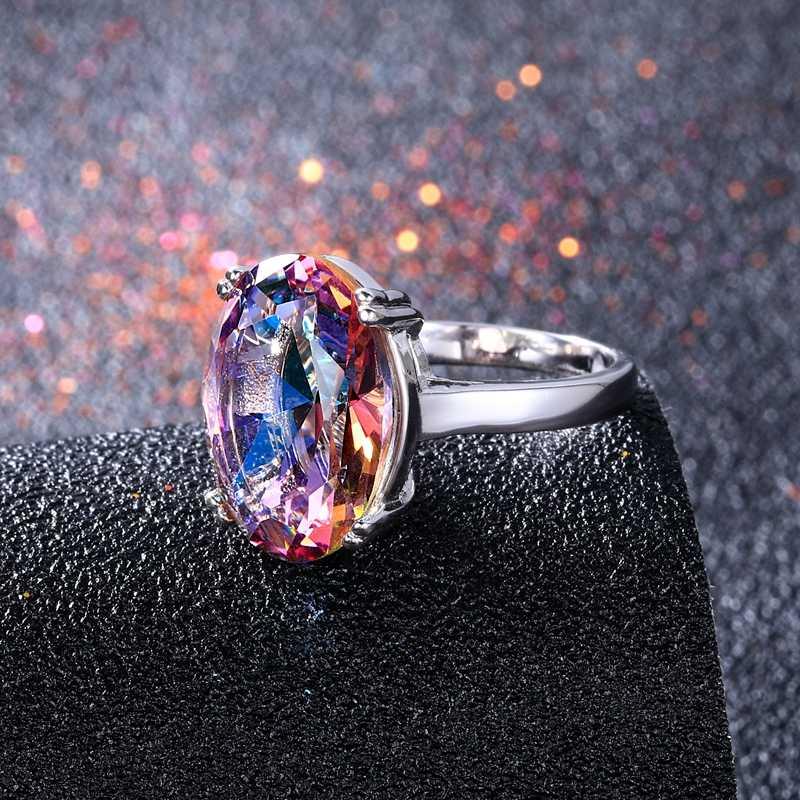 Модные женские ювелирные изделия S925 Серебряное кольцо Мистический Огонь Радуга Топаз кольца продвижение элегантные свадебные ювелирные изделия anillos вечерние подарки