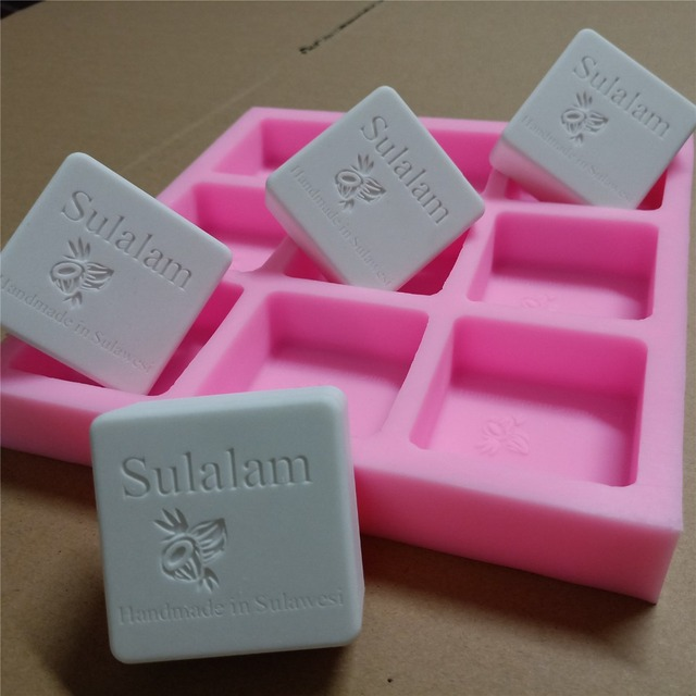9 Cavities Square Custom Soap Mold With Brand Logo Customized Silicone For Natural