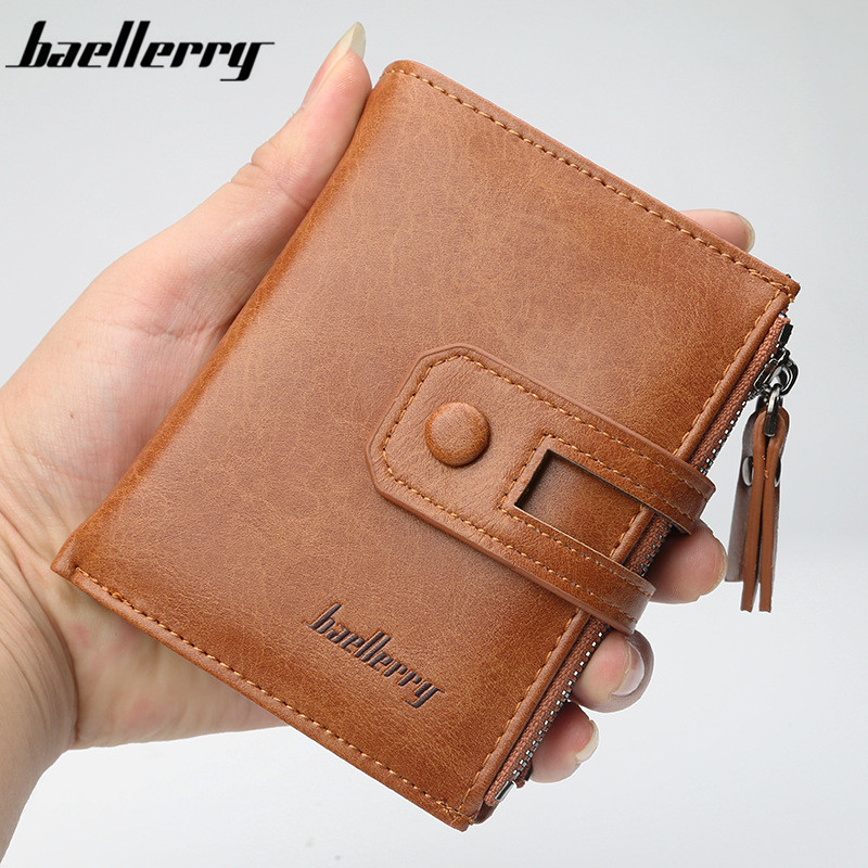 Baellerry Leather Men Wallet Fashion Short Purse with Coin pocket Vintage Wallets Zipper Men purse Brand Male Wallet card holder