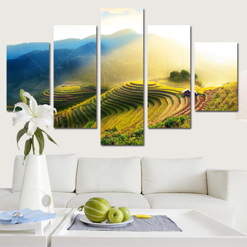 5 Panels Canwa Rice Field Spray Pastoral scenery Printed canvas ...
