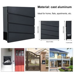 (Ship From UK)Universal Wall Mailbox Antique Letter Box Portable Secure Postbox Durable Mail Box 38x38x11cm Lockable Letterbox