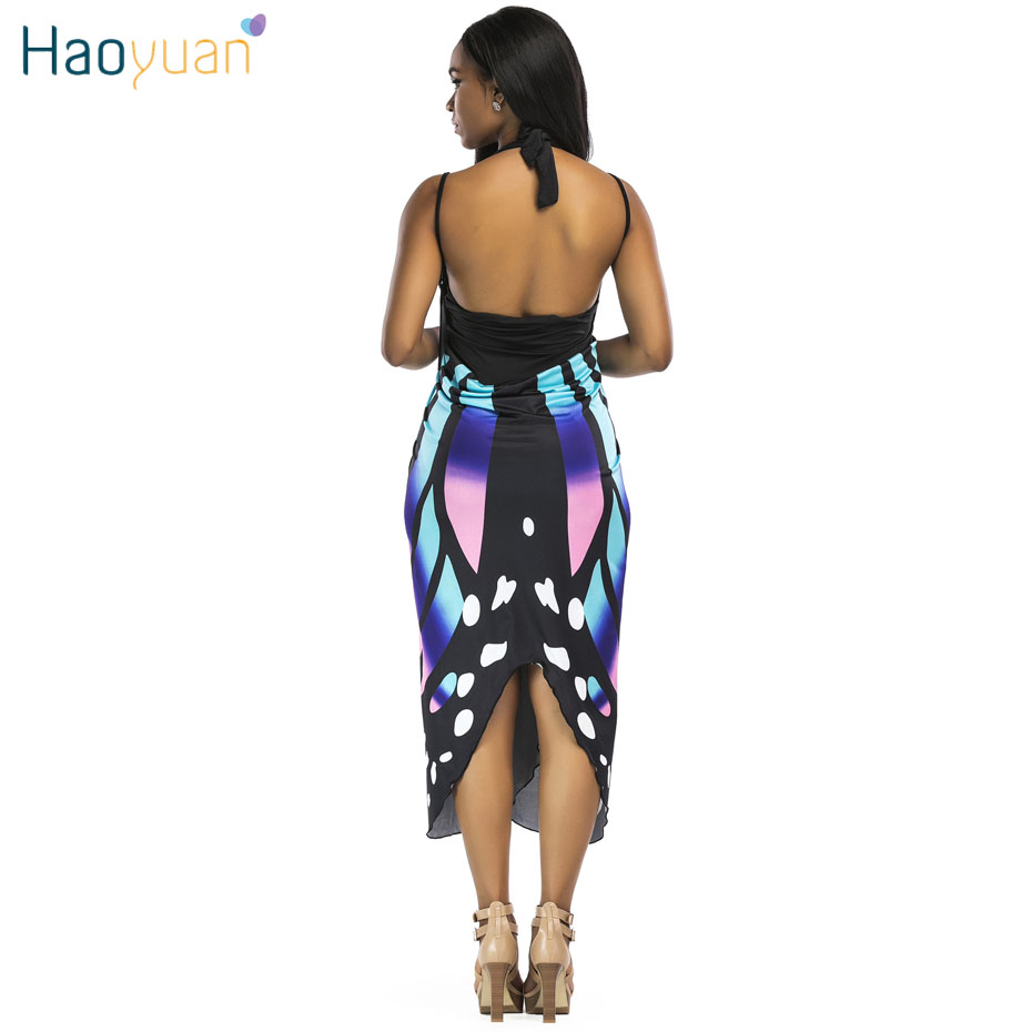 73a30d353af ... HAOYUAN Butterfly print sexy beach dress 2018 summer vestido midi  backless casual boho dress bathing robe ...