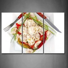 3 Piece Wall Art Painting Meal With Colorful Food With Knife Fork Print On Canvas The Picture Food 4 Pictures