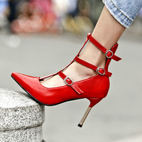 2019 spring and summer new high heeled sandals women's large size hollow fashion red sandals.