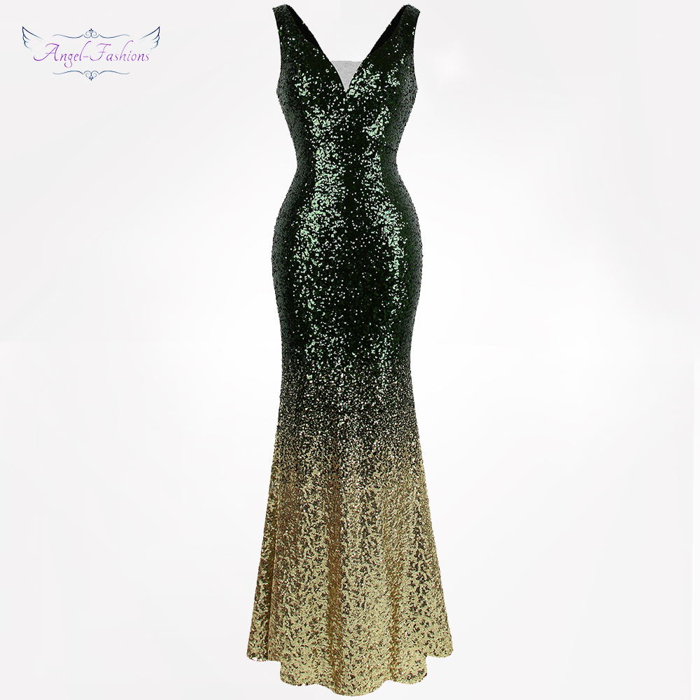 Angel fashions Women s Gradient Sequin Mother of Bride Dresses Contrast Color Party Gown 382
