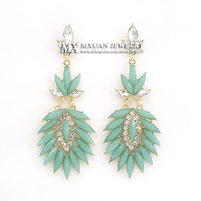 New Products of High Quality European and American Fashion Star Charm Feather Shape Acrylic Rhinestone Earrings ER039