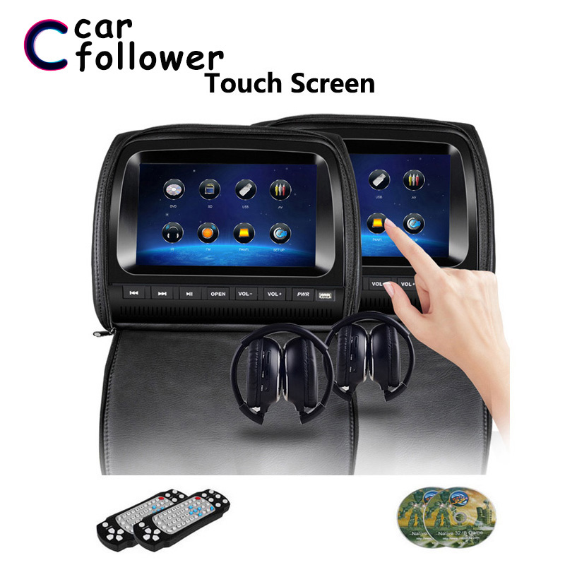 2PCS 9 Inch DVD In Car Headrest Monitor LCD Touch Screen Zipper Cover Support IR/FM/USB/SD/Speaker/Game MP5 Player(China)