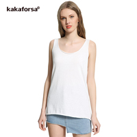 Kakaforsa Summer Women Cotton Tank Tops Casual Long Loose Vest Sexy White Camisole Female Knitted Solid
