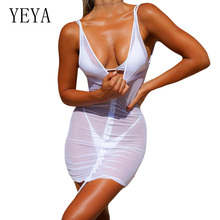 YEYA Sexy Deep V-neck Open Back Perspective Mesh Pleated Dress Black Fashion Mini Bodycon Dresses Night Club Vestidos Robes
